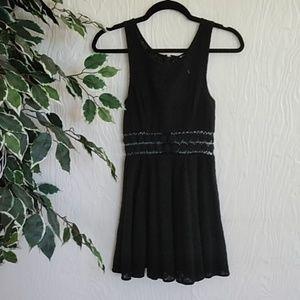 Free People black lace floral waist mini dress 0